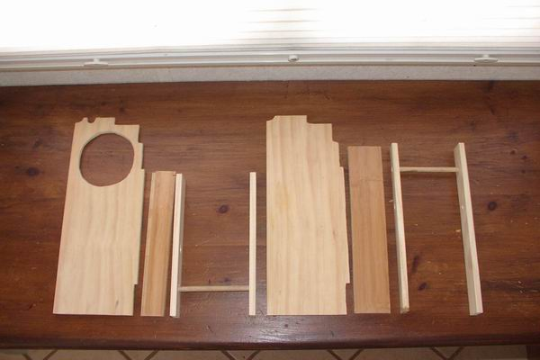 Wood pieces cut out for small space storage in bathroom