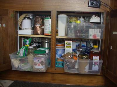 Food storage idea kitchen cabinet help totes shelves rv