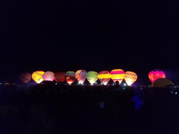 Dawn lighting of Hot Air Balloons