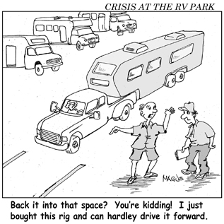 Cartoon - Trying to park an RV in a campground