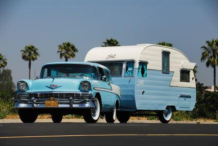 Shasta Camper with 56 Chevrolet